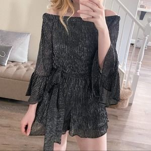 NWT Off the Shoulder Metallic Bell Sleeve Romper